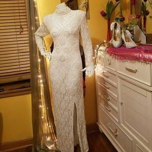 Laurence Kazar White Vintage Beaded Dress